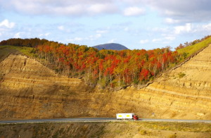 3794880 - road in autumn mountain.the mountain  pass kholmskiy on island sakhalin by autumn.